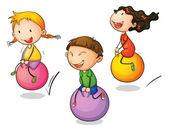Ilustrace ze tří skákající děti — Stock vektor