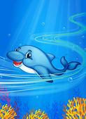 Underwater dolphin — Stock Vector