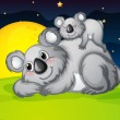 Two bears resting — Vector de stock
