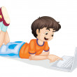 Laptop and boy — Stock Vector
