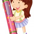 Stock Vector: A girl with pencil