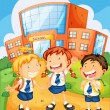 Kids infront of school building - Stock Vector