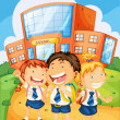Kids in front of school — Stock Vector