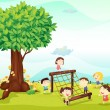 Kids playing under a tree - Stock Vector