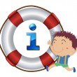 Stock Vector: Boy and lifesaver floating