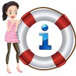 Stock Vector: Girl and lifesaver floating
