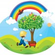 Boy carrying tree in a trolley — Stock Vector