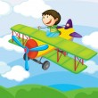 Boy on a air craft — Stock Vector #12601816