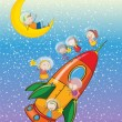 Kids on a rocket — Vector de stock