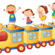 Stock Vector: Kids on a train