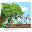 Lemurs on a log - Stock Vector