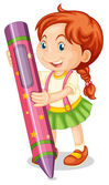 A girl with pencil — Stock Vector