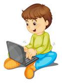 笔记本电脑和男孩 — 图库矢量图片