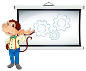 Monkey showing white board — Stock Vector