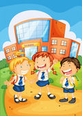 Kids infront of school building — Stock Vector