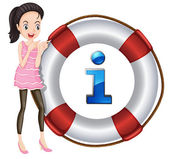Girl and lifesaver floating — Stock Vector