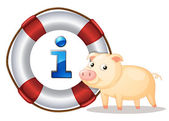 Pig and lifesaver floating — Stock Vector