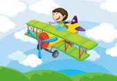 Boy on a air craft — Stock Vector