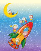 Kids on a rocket — Stock Vector