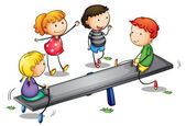Seesaw kids — Stock Vector