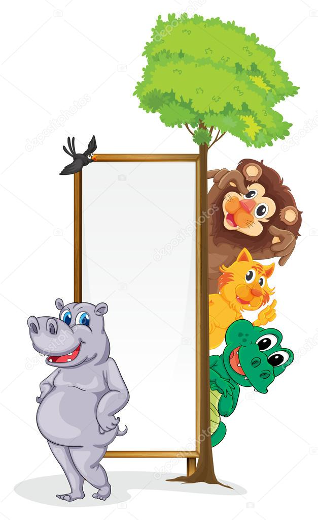 Illustration of animals with a banner  Stock Vector #12603079