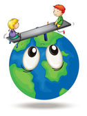 Kids playing on earth — Stock Vector