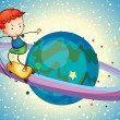A boy on a planet - Stock Vector