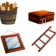 Various wooden objects - Stock Vector