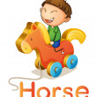 Stock Vector: A boy on a toy horse