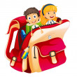 Stock Vector: Kids in a bag