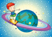 A boy on a planet — Stock Vector