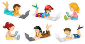 Laptops and Kids — Stock Vector