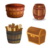 Diversos objetos de madera — Vector de stock