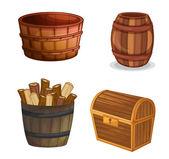 Różne przedmioty drewniane — Wektor stockowy