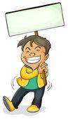 A boy holding board — Stock Vector
