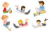 Kids with laptop — Stock Vector