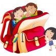 Royalty-Free Stock Vector Image: Girls and school bag
