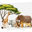 Royalty-Free Stock Vector Image: Animals in jungle on paper