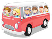 Bus and kids — Stock Vector