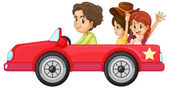 Kids and a car — Stock Vector