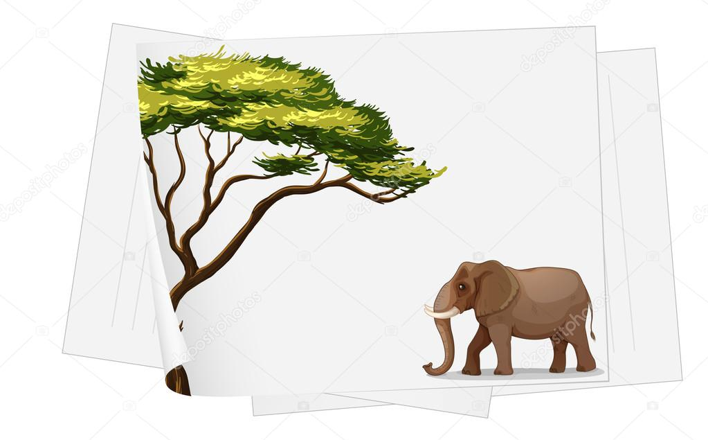 Illustration of elephant in jungle on a paper on a white background — Stock Vector #13130704
