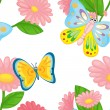 Flowers and butterflies — Imagen vectorial