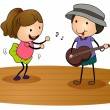 Royalty-Free Stock Vektorgrafik: Kids playing guitar