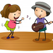 Royalty-Free Stock Imagem Vetorial: Kids playing guitar