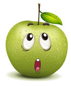 Wondering apple smiley — Stock Vector