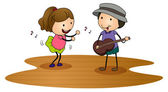 Kids playing guitar — Stock Vector