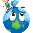 A boy playing skating on earth globe — Stock Vector
