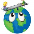 Stock Vector: Kids playing on earth globe