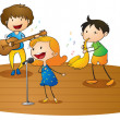 Kids playing music — Vector de stock