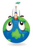 Boy diving on earth globe — Stock Vector